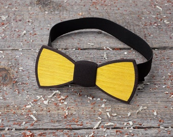 Wedding Wooden bow tie. Premium Double Wood bow tie groomsman gifts, Gifts for Him, Personalized yellow black wedding. 5 wedding anniversary