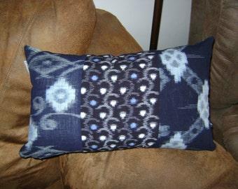 Patchwork Japanese Futon Cover Lumbar Pillow with 5 Pieces of Indigo Pattern Fabric