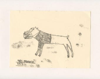 FIERCE DOG 3 - A Mono Print - Original Faye Moorhouse Illustration drawing art