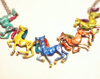 "Horse necklace silver zinc alloy 18"" carousel little pony bright pastel hand painted enamel"