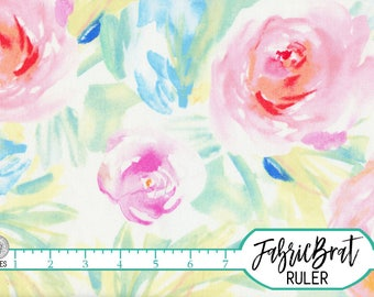 LARGE WATERCOLOR ROSE Fabric by the Yard, Fat Quarter Blush Pink Peach & Yellow Chic Floral Fabric 100% Cotton Quilting Apparel Fabric a5-6