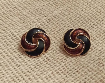 CLEARANCE!!! Vintage Clip On Earrings gold tone metal and brown and black enamel for unpierced ears