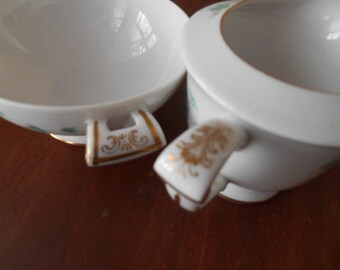Sango Caprice Pattern cream and open Sugar Bowl
