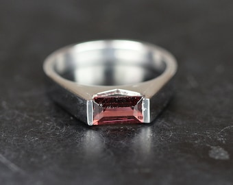 Natural garnet ring,white gold plated silver ring,925 sterling silver and garnet ring