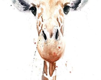 GIRAFFE PAINTING - giraffe watercolor, animal art, giraffe art print, giraffe decor, giraffe gift, giraffe lover, zoo animal print