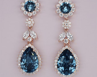 Blue Chandelier Wedding Earrings, Navy Blue Earrings, Rose Gold Bridal Earrings Blue Crystal Earrings Swarovski Rhinestone Jewelry
