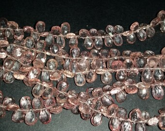 Pink Quartz faceted Pear Briolette,  6x8mm to7x9 MM Fine Quality Gemstone Briolette , Pack of 2 Strand