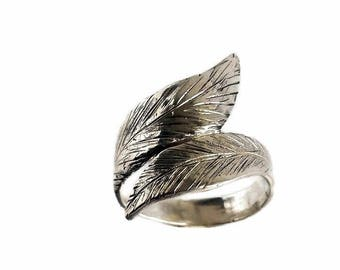 Sterling silver leaf ring, Leaf ring, Band ring, Leaf ring band, Sterling silver ring, Leaf jewelry, Wide band ring, Large leaf ring