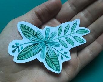 Queen Green Flower Sticker