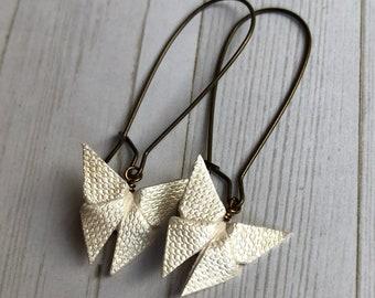 Origami Butterfly Earrings // Ivory Shimmer