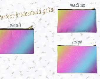 Rainbow, Makeup Bag, Makeup Brush Bag, Cosmetic Bag, Makeup Case, Makeup Storage, Pouch, Zipper Pouch, Bridesmaid Gift