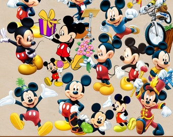 MICKEY MOUSE clipart png, mickey mouse images, digital clipart, png file, transparent backgrounds, cartoon clipart,  printable images