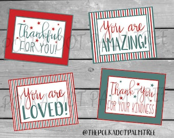 INSTANT DOWNLOAD Printable Notes of Encouragement Gratitude Thank You Cards Thank You For Your Kindness You Are Loved Thankful For You