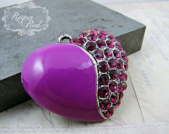 Orchid Pink Rhinestone & Purple Enamel Heart Pendant, pendant, heart focal, Valentines Day pendant, love, romance, beading -reynaredsupplies