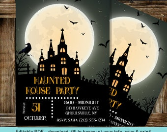 Haunted House Party | Moon and Bats | Editable Digital Invitation