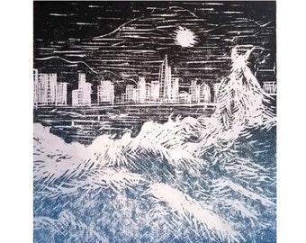 Ocean wall art prints, Linocut print, Hong Kong, China, Printmaking, Lino print, Blue wall art, Art for sale, Hand pulled print, Handmade