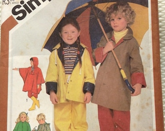Childs raincoat, poncho and pants Simplicity pattern