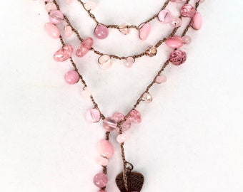 Crochet lariat, pink beaded necklace, lariat pink crochet necklace, long necklace, gift for her necklace, statement necklace