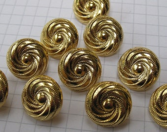 10 Small Gold Swirl Shank Buttons