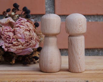 Wooden Peg Doll  kokeshi Girl and Boy personalized custom