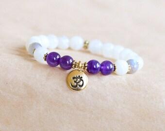 Moonstone Mala Bracelet, Om Bracelet, Wrist Mala Beads, Yoga Jewelry, Amethyst, Labradorite, Spiritual Jewelry, Healing, Stress Relief