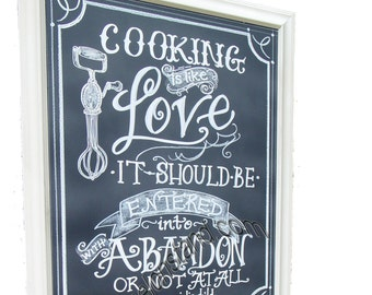 Chalkboard art sign - love with abandon quote chalkboard - Framed sign