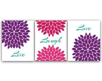 Home Decor Wall Art, Live Laugh Love CANVAS, Purple Wall Art, Flower Burst Hot Pink Bedroom Wall Decor, Purple Bedroom Wall Art - HOME34