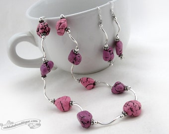 Purple Pink Jewelry Set necklace earrings set jewelry gift howlite necklace purple choker necklace purple earrings statement necklace gift