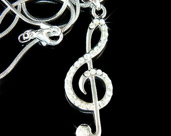 Swarovski Crystal TREBLE G CLEF Love Music Musical Note Charm Pendant Necklace Christmas Gift new