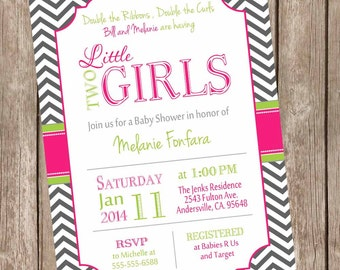 Twin Girls Baby Shower Invitation, Hot pink and Lime, Chevron Baby Shower Invitation, printable invitation