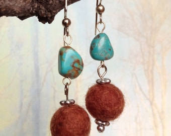 Turquoise and Wool Earrings