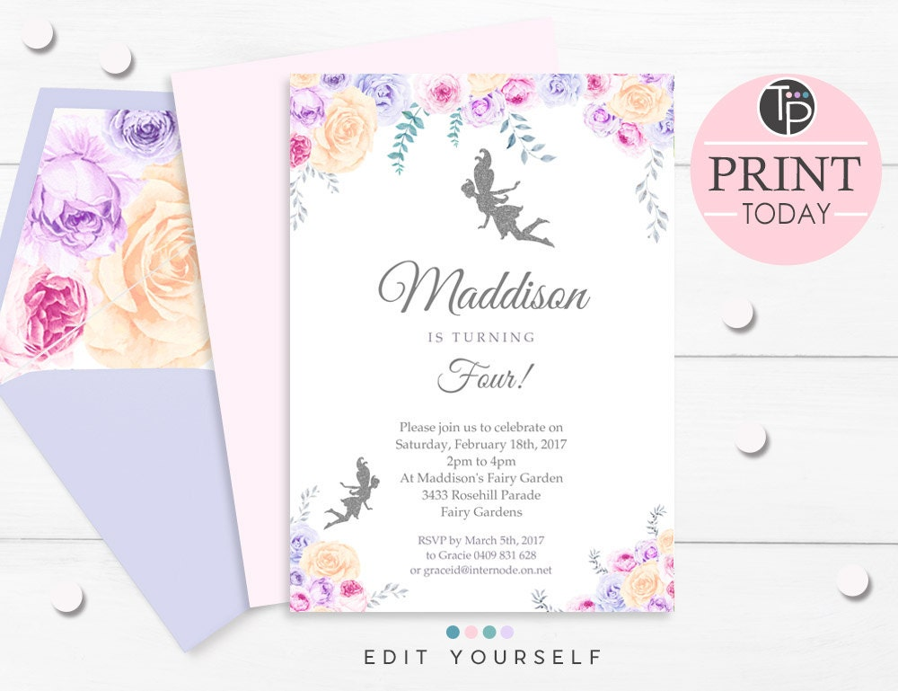 FAIRY INVITATION Instant download FAIRY Invitations Fairy