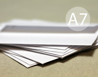 "25 5x7 White Envelopes - A7 size envelopes -  (true size 5 1/4"" x 7 1/4"") - A7 White Envelopes"