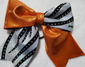 Orange Black and Silver Hairbow