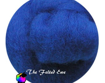 Needle Felting Wool Roving / DR30 Blue Bicycle Carded Wool Roving