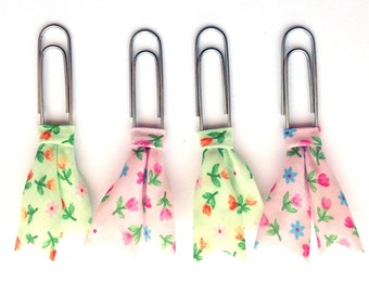Floral planner clips, Bias tape bible clip, set of 4 paper clips, book page marker, green and pink planner acessory, teacher gift pc043