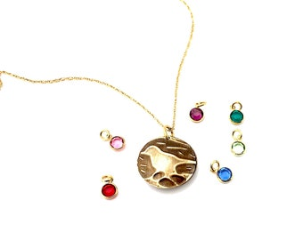 Mama Bird Locket Necklace Gift - Gold Mothers Day Present - Personalized Gold Birthstone Mommy Necklace -  Tiny Locket Mother Gift