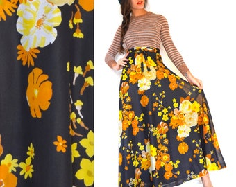 Vintage 60s 70s Flower Power Floral Print High Waisted A-Line Chiffon Maxi Skirt (size xs)
