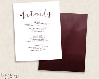 BURGUNDY - DIY Printable - Details Card - Double Sided -  Modern Watercolor Calligraphy Script - Add on to Wedding Set - Deep Red - Maroon