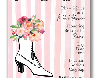 Customizable Ooh La La Shoe Wedding/Bridal Shower Invitation - [Digital File ONLY]
