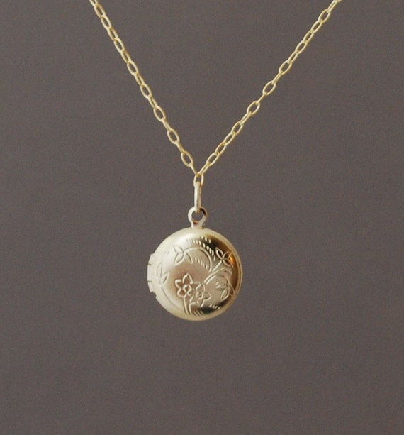 Small gold round locket necklace mozeypictures Gallery