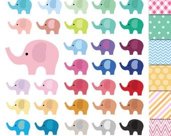 32 Elephant Clipart ,Pastel Elephant Clipart Cute Elephants Clip art, Rainbow Colorful Elephants ,Instant Download ,animal clipart printable