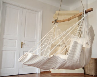 Hammock chair (beige with stripes)