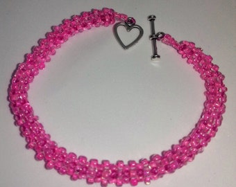 New Handmade Pink Ladies Beaded Bracelet with Heart Shaped Clasp