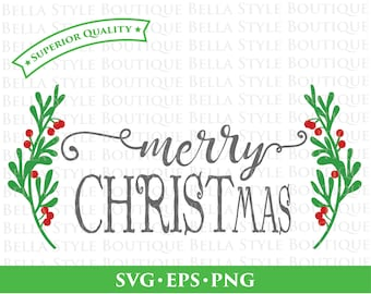 Merry Christmas Greenery Laurel Wreath svg png eps cut file