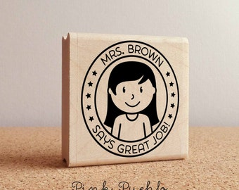 Personalized Female Teacher Rubber Stamp, Custom Teacher Stamp, Personalized Teacher Gift - Choose Hairstyle and Accessories