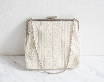 Iridescent Bag, Iridescent Clutch, Sequin clutch, Beaded Bridal Purse, Beaded Evening Bag, White Embroidered Bag, Evening Bag, Beaded Clutch