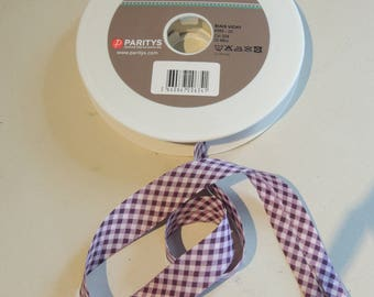 Bias cotton fancy gingham plum and light pink