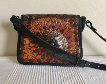 Vintage Classic made in Argentina Exotic Souvenir Leather Purse Flap Bag