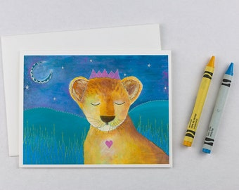 Lion note card set. Childrens thank you notes. Set of 6 cards. Blank card set kids. Kids thank you cards. Greeting cards for kids